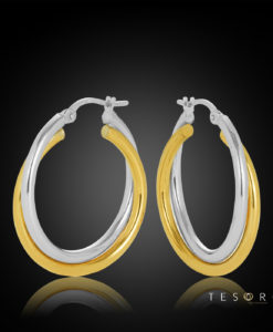 20OBC697-99 Anzio Yellow & White Gold 20mm Hoop Earrings