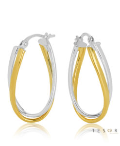 22OBC751-99 Urbino Yellow & White Gold Hoop Earrings
