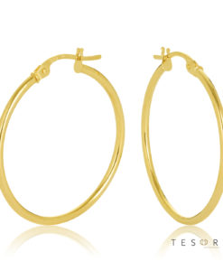 25OBC527-99 Eboli 1.5mm Round Tube Hoop Earring 25mm Diameter