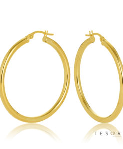 30OBC305-99 Celestine Yellow Gold Round 2.5m Hoop Earrings 30mm