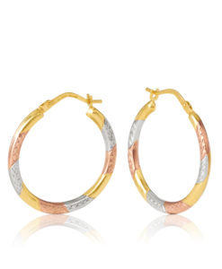 OBS518/9901 Spello Yellow, White & Rose Gold Hoops