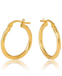 15OBC441-99 Sotto 9Y 2mm Twist 15mm Diameter Gold Hoop Earring