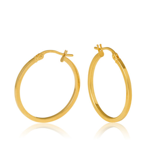 20OBC457-99 Salerno 9Y Square Tube 20mm Diameter Gold Hoop Earring