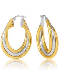20OBC698-99 Venosa 9YW Triple Tube Cross Over 20mm Diameter Hoop Earrings