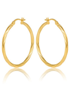 25OBC441-99 Sotto Gold Twist Hoop Earrings